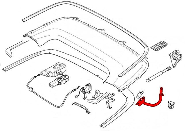 convertible top flap hinge 41638244279 - genuine bmw